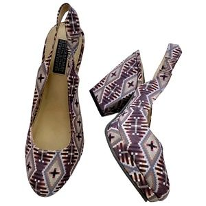 Deena & Ozzy Purple Print  Slingback Heels Shoes